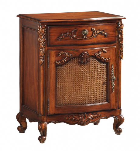 Rattan Fronted Bedside in Mahogany